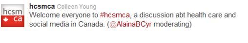 Tweet introducing #hcsmca chat