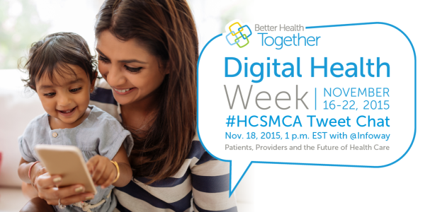 Twitter poster announcing chat for Digital Health Week