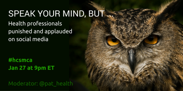 twitter chat announcement #hcsmca Jan 27 at 9pm Eastern