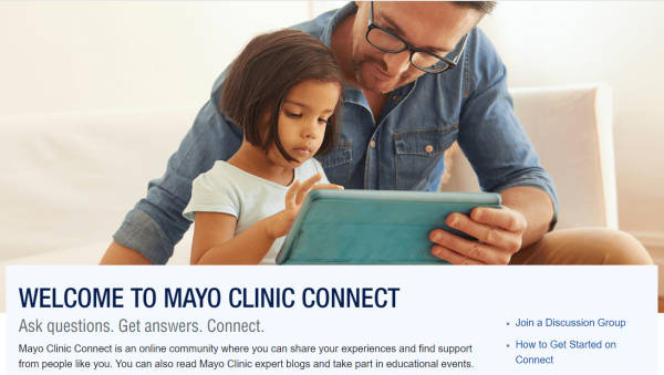 Mayo Clinic Connect's homepage